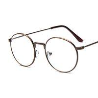 Revisiones Men s round eyeglass frames-10 pedazos / porción venden al por mayor los vidrios redondos 9719 del marco del metal de la pierna floral de la vendimia Los anteojos del inconformista de los hombres de las mujeres enmarcan los marcos del espejo del llano de la miopía