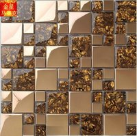 amber mosaic mirror - European stainless steel mirror glass mosaic entrance living room TV background wall decoration Amber Bar Kitchen