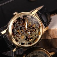 automatic hook - Luxury Brand WINNER Automatic Mechanical Watches Men s Stainless Steel Skeleton Watch Gold Dial aaa Top Quality Watches Gift Box
