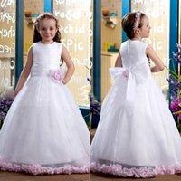 Cheap 2015 fashion Little Girls Pageant Glitz White Flower Girl Dresses For Girls Toddler Ball Gowns Baby Dress