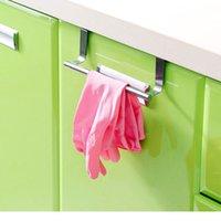 Wholesale Stainless Steel Towel Bar Holder Hook Over the Kitchen Cabinet Cupboard Door Hanging Rack Storage Holders Accessories