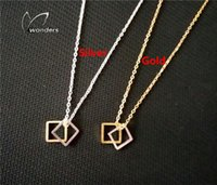 Wholesale Minimalist Couple Jewelry Gold Silver Stainless Steel Fashion Geometric Double Square Necklace for Women And Man