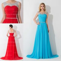 Wholesale New Sexy Sheer Beteau Neck Red Chiffon Prom Dresses Beaded Crystals Top Sweep train Sleeveless Cheap In Stock Evening Gowns BZP0461