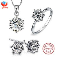 Wholesale Classic Bridal Wedding Jewelry Sets Sterling Silver Cubic Zirconia ct CZ Diamond Rings Necklace Earrings For Women Fine Jewelry ZS1236