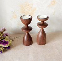 Wholesale Natural Walnut Candlestick Holder Festival Wedding Coffee Supplies Wood Craft