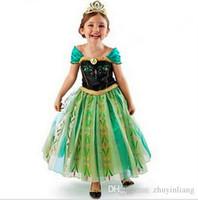 Cheap Frozen Free Fall Girl's Costume dresses tulle Short sleeve baby girl dress princess girls party dress children kids girl ball gown Heat