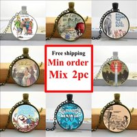 art comic book - NS Glass Necklace Nursery Rhyme Comics Necklace Book Lover Jewelry Glass Art Picture Necklace