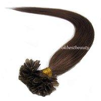 Wholesale Premium Pre bonded Keratin Fusion U Nail Tip Remy Human Hair Extensions quot quot Strands set Dark Chocolate Brown