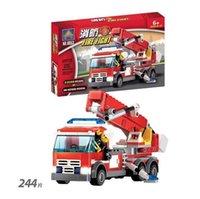 Cheap 244pcs set eductional plastic Building Blocks 8053 Sets Fire Fight Aerial Ladder Truck Car Halloween toys With original box