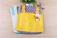 ad shopping - Lovely doll reusable shopping bag oxford ad promotion cartoon tote bag book pocket yellow white