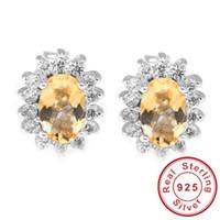 Cheap Wholesale-Crown Princess Diana Natural Citrine Gemstone Earrings Stud Genuine 925 Sterling Silver Vintage Charm Gift Brand Women Jewelry