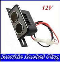 Wholesale 12V Female Car Cigar Cigarette Lighter Double Socket Plug Connector Adapter HIGHT QUALITY