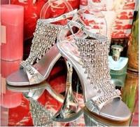 diamante shoes - 2015 Drop ship high heel sandals rhinestone elegant diamante women shoes bling bling silver crystal wedding pumps thin heel
