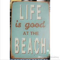 beach signs decor - HOT Life Beach tin posters for walls Vintage Tin Signs letter Decor Club Bar Cafe Hotel x30cm lo04 ldx