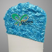 Cheap 50PCS Turquoise Color Chair Hood \ Satin Rosette Chair Cap For Wedding Spandex Chair Cover