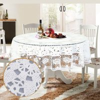pvc table cloth - Party Tablecloth PVC cm Round Table Cloth Floral Waterproof Oilproof Dining Wedding Table Cover Overlay Hollow Out Grid