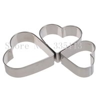 Wholesale 3pcs set Stainless Steel Heart Love Fondant Cake Decorating Mould Metal Cutter Plunger cookies cutters fondant chocolate moulds