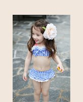 Cheap Summer Baby Swimsuit Bikini Infantil Swim Bathing Suit Skirt Costume Swimwear Straps Plaid Printed For Girls Kids ruffled swimwear swimsuit