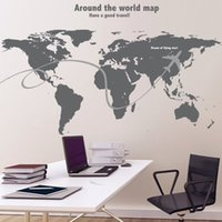 area wallpaper - Hot Travel Around The World Wall Stickers World Map Decal Large Area Wallpapers Wall Quote Office Decor