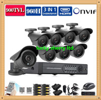 Wholesale CIA HD TVL video Surveillance CCTV System CH CCTV H DVR NVR with IR cut outdoor IP66 cameras Security kit channel no hdd