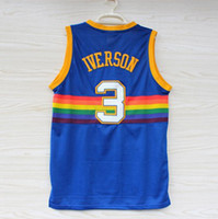 Wholesale free delivery Top Quality Men s IVERSON blue Running Jerseys Embroidery Logo With Name Mix Order new fabrics retro Jerseys
