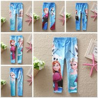 clothing factory - Free DHL Frozen Leggings For Girls Kids Princess Elsa Long Pants Tights Trouser Cartoon Clothes Frozen Fever Children Clothing Factory Price
