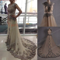 Wholesale 2015 Real image Celebrity dress Lace Tulle Evening Gowns floor length Arabic dresses vestidos Sexy Prom Dresses