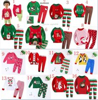 baby sweater sets - 2015 new style Children Home Christmas Outfits sweater top and pant set with Cartoon picture Christmas Pajamas set Baby Clothing C040
