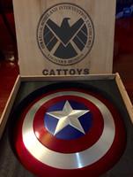 Wholesale The Avengers Full Metal Captain America Shield Aluminum Wooden packaging Diameter CM Cosplay Toys Model Novelty Toys Chritmas Gift