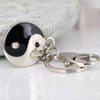 Wholesale 10PCS Taiji Bagua and Symmetry Pattern Keychain Creative Chinese Style Accessories Crystal Key Chain Ring Keyring Keyfob