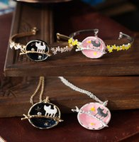 Wholesale Charm bracelets and necklaces for women enamel round pendant cat leaf charm bracelets jewelry sets fairy tales