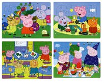 Wholesale 40pcs pack Pink pig Puzzles Style For Choice Pink pig Puzzle Characters Pattern Children Education Games Toys For Kids Gift H0566b