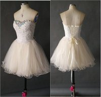 Wholesale 2014 Cute Short Prom Dresses Sweetheart Beaded Applique See Through Cheap Junior Girls Graduation Dresses Party Dresses Homecoming Gowns