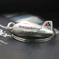 aviation airlines - 10pcs Airliner Keychain Fashion American Civil Aviation Aircrafts Airlines Air Plane Key Chain Ring Key Fob Keyring