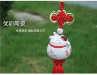 Wholesale Red Chinese Knot Lucky Cat Mascot Car Hanging Accessory Car Accessory M11006 accessories interior car