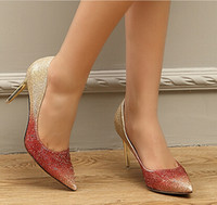 Wholesale 2015 New Spring Shoes Women High Heels Sexy Cusp Fashion Ladies Shoes Golden Bride Wedding Shoes with a Fine Shallow Mouth Multi color