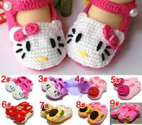 Wholesale Handmade Toddler Baby Girl Shoes Baby Crochet Shoes Knit Flower Sandals Infant Hello cartoon Kitty Shoes pairs Free ShippV120