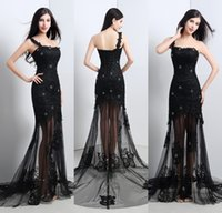 one shoulder black evening dress - Sheer Black Lace Tulle Evening Dresses One Shoulder Appliques Lace Beaded See Through Actual Image Evening Gowns Long Prom Dress CPS120