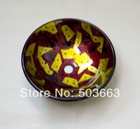 Wholesale New Round Hand painted Artistic Victory Vessel Wash Basin Tempered Glass Sink Bathroom Basin With Brass MF