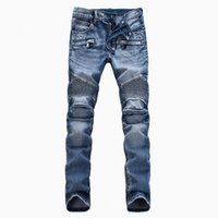 Wholesale Men s foreign trade light dark jeans pants Balmain motorcycle pants men washing to do the old fold jeans