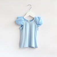 Wholesale 2015 NEW ARRIVAL baby girl kids Korean style PUFF SLEEVE shirt tops blouse PRINCESS Bubble sleeve T shirt COTTON CUTE CLOTHING LACE