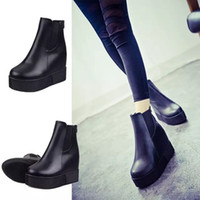 band platform boots - 2015 New Style PU elastic band zipper Increased within Wedges Thick crust Platform shoes Woman Shoes Boots US5 US9