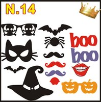 Wholesale Halloween Chrismas Lovely Paper Mask Photo Booth Props Home Party Pumpkin Mustache Hat Lips Wedding Decoration Gifts