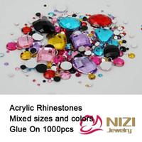 acrylic wedding nails - Rhinestones Mix Sizes Mix Colors Round Acrylic Non Hotfix Flatback Rhinestones Nail Art Stones For Wedding Strass Decorations