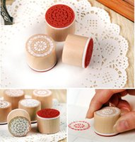 Wholesale 6pcs SET Assorted Retro Vintage Floral Flower Pattern Round Wooden Rubber Stamp Scrapbook DIY