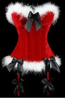 Wholesale Christmas Corset For Women - Wholesale-2015 New Burlesque Red Bone Christmas Corset Fur Bustier Tops Christmas Gifts For Women Corset Vestido