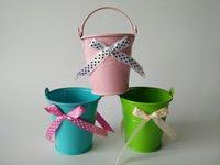 artificial easter eggs - mini bucket flower pot tin box Iron pots flower tub metal easter egg pot wedding favors