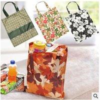 arrival reusable bags - 50ps LJJC1943 New Arrival Square Pocket Print Floral Shopping Bag Candy Color Available Ecofriendly Reusable Foldable Handle Nylon Bag
