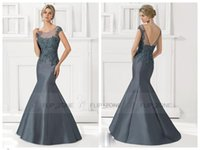ash scoop - Mermaid Mother of The Bride Dresses Metalic Ash Sky Blue Scoop Sleeveless Appliques V Back Floor Length Beads Evening Dress