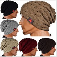 Wholesale 2016 Hot Sales Unisex Men Winter Skull Chunky Women Knit Beanie Reversible Baggy Caps Warm Hats